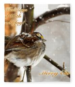 Christmas Sparrow - Christmas Card Fleece Blanket