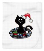 Christmas Train Kitty Cat Fleece Blanket