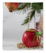 Christmas Tree Branch And Decoration In A Vase Fleece Blanket