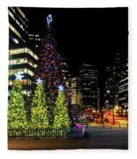 Christmas Tree On New Year's Eve In The Street Of A Big City Fleece Blanket