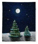 Christmas Trees In The Moonlight Fleece Blanket
