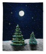 Christmas Trees In The Moonlight Fleece Blanket