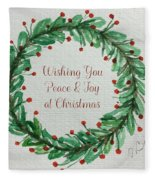 Christmas Wreath Fleece Blanket