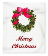 Christmas Wreath Fleece Blanket