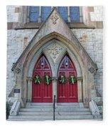 Christmas Wreaths On Red Church Doors Fleece Blanket