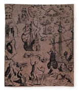 Christopher Colombus Discovering The Islands Of Margarita And Cubagua Where They Found Many Pearls Fleece Blanket