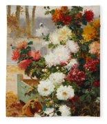 Chrysanthemums In A Walled Garden Fleece Blanket