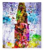Chrysler Building Colored Grunge Fleece Blanket