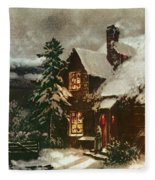Church And Cottage With Lighted Windows Fleece Blanket