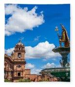 Church And Fountain In Cusco Peru Fleece Blanket