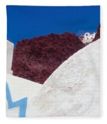 Church And Windmill In Santorini Greece Fleece Blanket