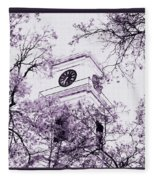 Church Clock In Autumn Fleece Blanket