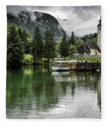 Church In Julian Alps Slovenia Fleece Blanket