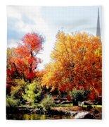Church In The Distance In Autumn Fleece Blanket