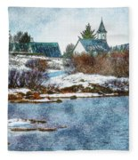 Church In Thingvellir Fleece Blanket