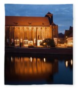 Church Of Our Lady On Sand In Wroclaw By Night Fleece Blanket