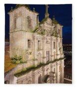 Church Of Saint Lawrence By Night In Porto Fleece Blanket