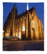 Church Of The Holy Cross By Night In Wroclaw Fleece Blanket