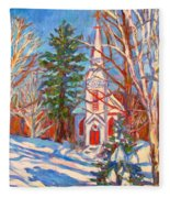 Church Snow Scene Fleece Blanket