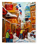 Church Street In Winter Fleece Blanket