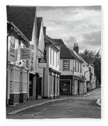 Church Street Sawbridgeworth In Black And White Fleece Blanket