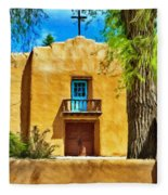 Church With Blue Door Fleece Blanket