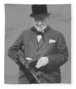 Churchill Posing With A Tommy Gun Fleece Blanket
