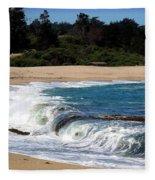Churning Surf At Monastery Beach Fleece Blanket