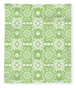 Cilantro- Green And White Art By Linda Woods Fleece Blanket