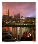 Red Sunset Sky In Cincinnati Ohio Fleece Blanket