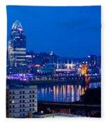 Cincinnati Skyline At Night Fleece Blanket