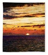 Cinque Terre - Sunset From Manarola - Panorama - Vintage Version Fleece Blanket