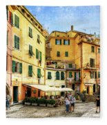 Cinque Terre - Vernazza Main Street - Vintage Version Fleece Blanket