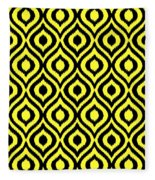 Circle And Oval Ikat In Black N05-p0100 Fleece Blanket
