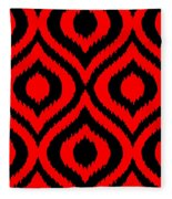 Circle And Oval Ikat In Black T02-p0100 Fleece Blanket