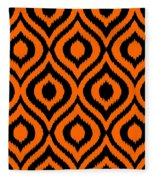 Circle And Oval Ikat In Black T03-p0100 Fleece Blanket