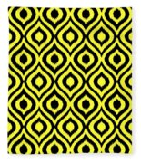 Circle And Oval Ikat In Black T05-p0100 Fleece Blanket