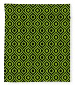 Circle And Oval Ikat In Black T09-p0100 Fleece Blanket