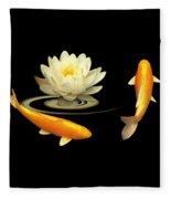 Circle Of Life - Koi Carp With Water Lily Fleece Blanket