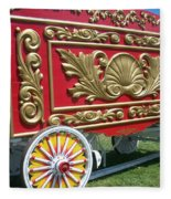 Circus Car In Red And Gold Fleece Blanket
