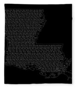 Cities And Towns In Louisiana White Fleece Blanket