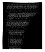 Cities And Towns In Vermont White Fleece Blanket
