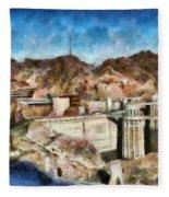 City - Nevada - Hoover Dam Fleece Blanket