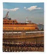 City - Ny - The Staten Island Ferry - Panorama Fleece Blanket