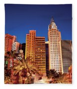 City - Vegas - Ny - The New York Hotel Fleece Blanket