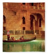City - Vegas - Venetian - The Gondola's Of Venice Fleece Blanket