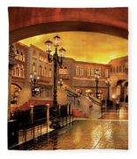 City - Vegas - Venetian - The Streets Of Venice Fleece Blanket