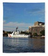 City Across The River Fleece Blanket