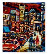 City At Night Downtown Montreal Fleece Blanket
