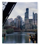City At The Waterfront, Chicago River Fleece Blanket